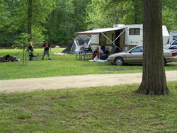 Spacious campsites at the Rock Creek Campground, Clinton County, IA