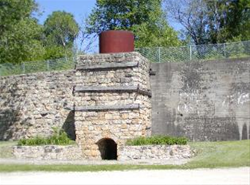 View of one of the four kilns