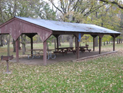 Picnic shelter at West Idlewild Campground