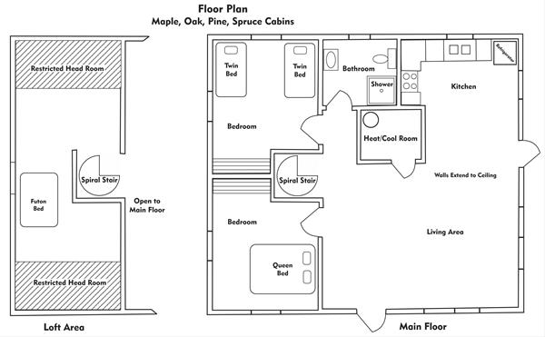 2 Bedroom Cabin Floor Plan