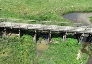 East Blue Creek bridge aerial view