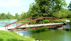 Bow bridges on the trails at Kent Park - Johnson County, IA