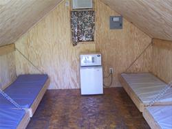 Interior of camping cabins